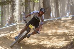 CYCLISTS in the MERCEDES-BENZ UCI MTB WORLD CUP 2019 - XCO Vallnord, Andorra on July 2019 royalty free stock photos