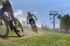 CYCLISTS in the MERCEDES-BENZ UCI MTB WORLD CUP 2019 - XCO Vallnord, Andorra on July 2019 royalty free stock photography