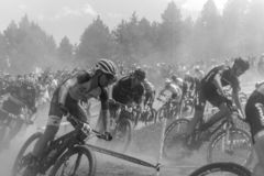 CYCLISTS in the MERCEDES-BENZ UCI MTB WORLD CUP 2019 - XCO Vallnord, Andorra on July 2019 royalty free stock image