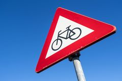 Cyclists and moped riders. Dutch road sign: cyclists and moped riders Royalty Free Stock Images