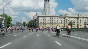 Cyclists on the Moscow cycle parade. stock video footage