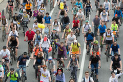 Cyclists on the Moscow cycle parade. royalty free stock image