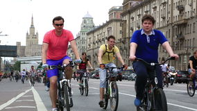 Cyclists on the Moscow cycle parade stock video footage