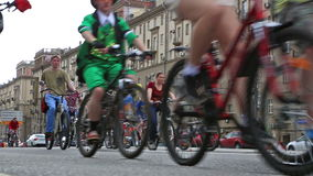 Cyclists on the Moscow cycle parade stock footage