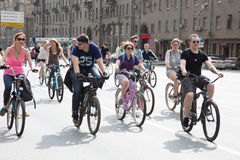 Cyclists on the Moscow cycle parade Royalty Free Stock Photo