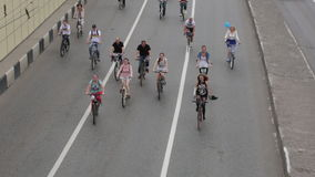Cyclists on the Moscow cycle parade. stock footage