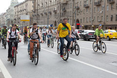 Cyclists on the Moscow cycle parade. Stock Images