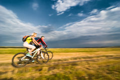 Cyclists in motion Royalty Free Stock Photos