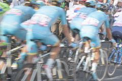 Cyclists, motion blur Stock Images