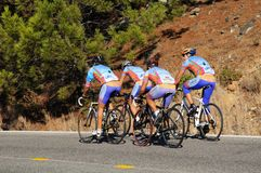 Cyclists on mountain road, Andalusia. Royalty Free Stock Image