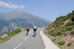 Cyclists on mountain road in Corsica, France Stock Photos