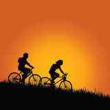 Cyclists in nature color vector Royalty Free Stock Images