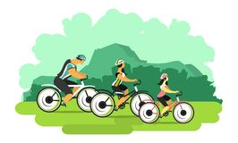 Cyclists in nature. Vector illustration bike ride happy family spends their leisure time Stock Photos