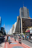 Cyclists on Paulista Avenue, Sao Paulo Royalty Free Stock Photo