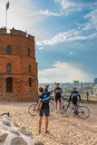 Cyclists are photographed in Castle Hill, Vilnius Royalty Free Stock Photos