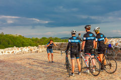 Cyclists are photographed in Castle Hill, Vilnius Stock Photo