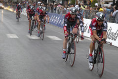 Cyclists prior  finishing line Stock Images