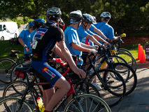 Cyclists race Stock Images