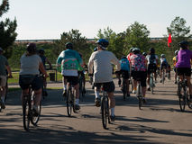 Cyclists race stock image