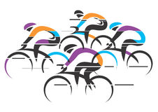 Cyclists racers colorful background Stock Photo