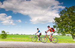 Cyclists Relax Biking Outdoors Royalty Free Stock Photos