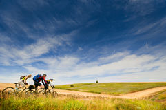 Cyclists relax biking outdoors. Mixed group of cyclists relax biking outdoors stock image