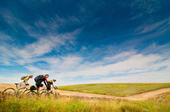Cyclists relax biking outdoors. Mixed group of cyclists relax biking outdoors stock photo
