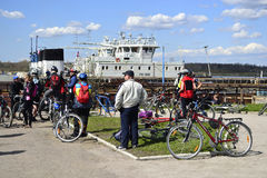 Cyclists relax biking outdoors. Leningrad Oblast, Russia - May 8, 2012: Cyclists relax biking outdoors stock images