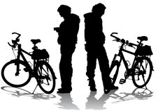 Cyclists on rest Royalty Free Stock Photos