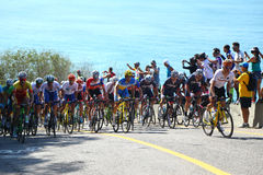 Cyclists ride during Rio 2016 Olympic Cycling Road competition of the Rio 2016 Olympic Games Royalty Free Stock Images