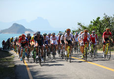 Cyclists ride during Rio 2016 Olympic Cycling Road competition of the Rio 2016 Olympic Games in Rio de Janeiro Royalty Free Stock Images