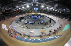 Sixday cycling series finals in palma velodrome. Cyclists ride during their final race at the Sixday cycling event finals in Palmaarena velodrome in the Spanish royalty free stock images