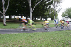 Cyclists riding. Group of cyclists riding in a race Stock Images