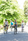 Cyclists riding bicycles Royalty Free Stock Photos