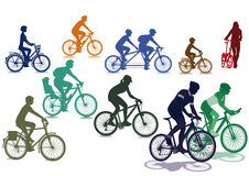 Cyclists riding bicycles. A set of cycling illustrations with cyclists riding a variety of different bikes with reflections on a white background Royalty Free Stock Photography