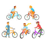 Cyclists riding bike set for label design. Lifestyle, sport, cycling, riding, relax. Colorful cartoon detailed Stock Image