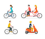 Cyclists riding bike set Scooter rider Royalty Free Stock Images