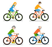 Cyclists riding bike set Royalty Free Stock Image