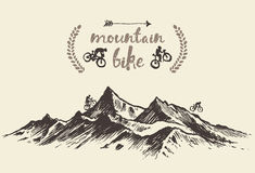 Cyclists riding mountain hand drawn bike vector Stock Images