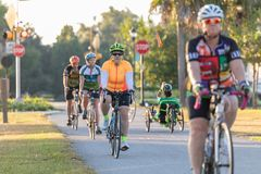 Cyclists riding north on the Withlacoochee State Trail. royalty free stock photography
