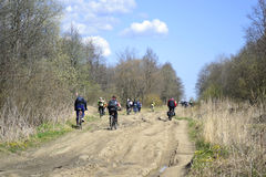Cyclists riding on rural road Stock Image