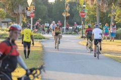 Cyclists riding on the Withlacoochee State Trail. royalty free stock photos