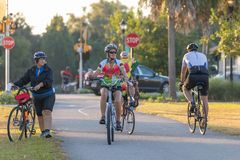 Cyclists riding on the Withlacoochee State Trail. stock photography