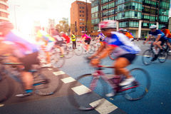 Cyclists on the road Royalty Free Stock Image