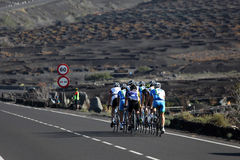 Cyclists on the road in Lanzarote stock photography