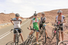 Cyclists on the road near Seeheim in Namibia Royalty Free Stock Photography