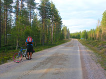 Cyclists on the roads in Finland Royalty Free Stock Images