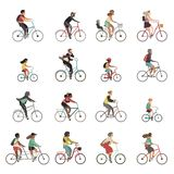 Cyclists set. Happy people riding bicycle family ride tandem bikes children woman men sports gear outdoor activity. Cartoon vector set stock illustration