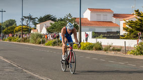 Cyclists straight for a road bike race Stock Image