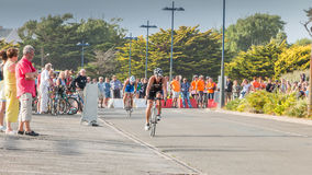 Cyclists straight for a road bike race Royalty Free Stock Photo